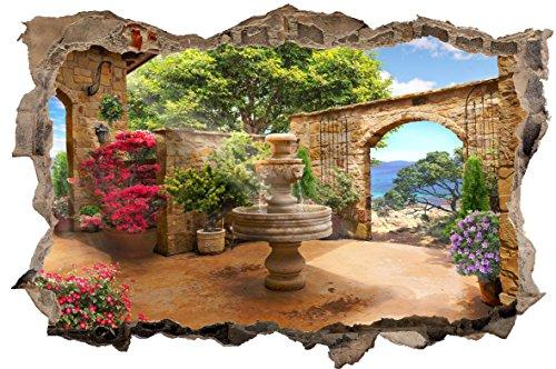 DesFoli Toskana Brunnen 3D Look Wandtattoo 70 x 115 cm Wanddurchbruch Wandbild Sticker Aufkleber D513