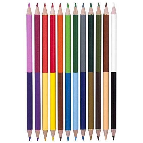 Yoobi Double Ended Colored Pencils, 12 Pack