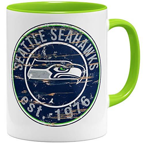 OM3® Seattle Badge Tasse | Keramik Becher | 11oz 325ml | American Football Mug | Hellgrün