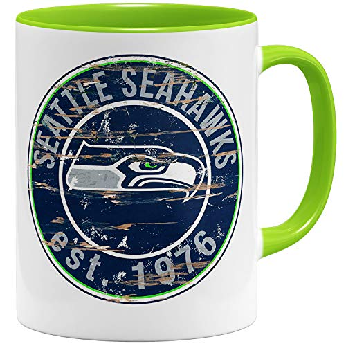 OM3® Seattle Badge Tasse | Keramik Becher | 11oz 325ml | American Football Mug | Hellgrün