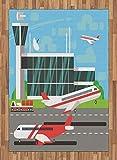 ABAKUHAUS Aeropuerto Alfombra de Área, Plano Salida de la Pista, Tejida Acento Decorativo para Sala de Estar o Dormitorio, 160 x 230 cm, Multicolor