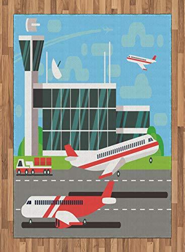 ABAKUHAUS Flughafen Teppich, Abfahrt Flugzeug von der Landebahn, Deko-Teppich Digitaldruck, Färben mit langfristigen Halt, 160 x 230 cm, Mehrfarbig