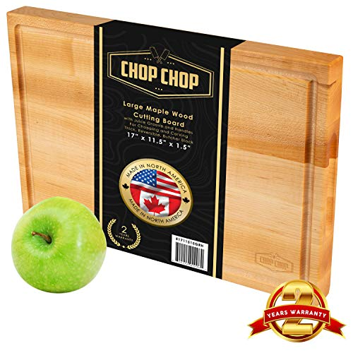 CHOP CHOP Premium Large Maple Wood Cutting Board With Juice Goove Grip Handles Multipurpose Reversible Butcher Block Chopping Carving 17 inch x 11.5 inch x 1.5 inch Heavy Duty Meat Veggies Cheese