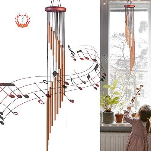 EAHUHO Windspiele im Freien, 90cm Memorial Windspiele mit Haken, 18 Aluminiumlegierung Rohre Wind Bell mit Holz Design, Geschenk für Gartenterrasse Hinterhof Home Decor