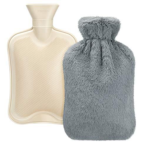 Homealexa Wärmflasche mit weichem Bezug 2L, Premium Naturkautschuk, BS1970:2012 zertifiziert, Sicher und Langlebig Wärmeflasche für Familie - Grau