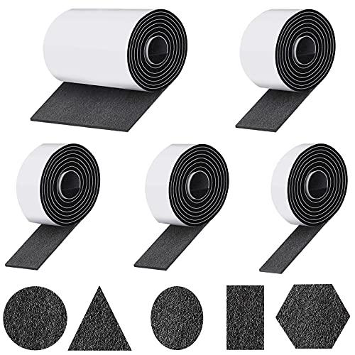 Ukontagood - Almohadillas de fieltro autoadhesivas, 5 rollos de fieltro, cinta adhesiva de fieltro para evitar que se deslicen sillas, muebles, se puede cortar en cualquier forma
