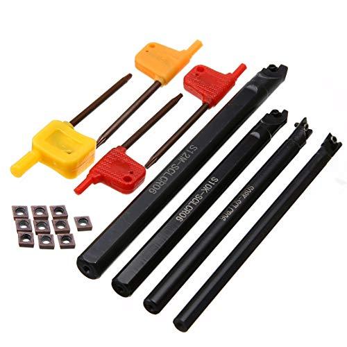 NO LOGO LT-Tool, 4pcs S12M / S10k / S08K / S07K-SCLCR06 Lathe Turning-Halter-Werkzeug 7/8/10 / 12mm Bohrstange + 10pcs Einsätze mit T8-Schlüssel