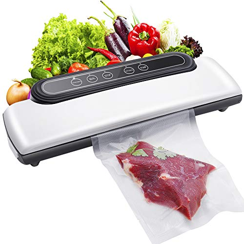 Vacuum Sealer Machine,Vacuum Sealer Automatic Food Sealer for Food Preservation with Dry and Moist Modes, Led Indicator Light,Compact Design(White)