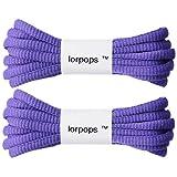 lorpops - 2 paia di lacci ovali atletici per scarpe, 9 colori, 5 lunghezze, diametro 4 mm, Viola (Lilla), 39inch/100cm