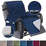 Turquoize Recliner Cover Velvet Recliner Chair Cover, Pet Cover for Recliner with Elastic Straps Recliner Sofa Slipcover for Living Room Furniture Protector (Seat Width Up to 28', Navy)