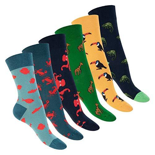 Footstar Damen und Herren Bunte Motiv Socken (6 Paar), Lustige Baumwoll Socken - Oceansafari 41-46