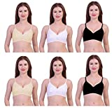 Caracal Seamless Cotton Bra for Women Full Coverage Regular Fit Non Padded with one Pair Transparent Straps Free (Multi Color) Size_36 Combo Pack of 3 C Cup