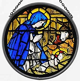 Decorative Hand Painted Stained Glass Window Sun Catcher/Roundel in a Madonna and Child Design.