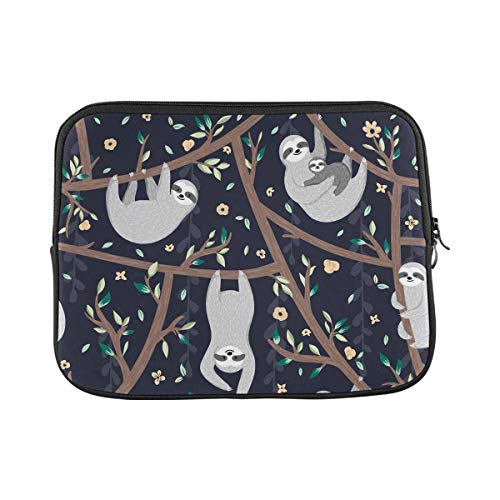 INTERESTPRINT Laptop Water Resistant Sleeve Case Cover Cute Sloths Hanging on The Tree Notebook Neoprene Carrying Bag 13 Inch 13.3 Inch