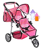 Exquisite Buggy, Twin Doll Stroller with Diaper Bag and Pink & Polka Dots Design with 2 Free Magic Bottles