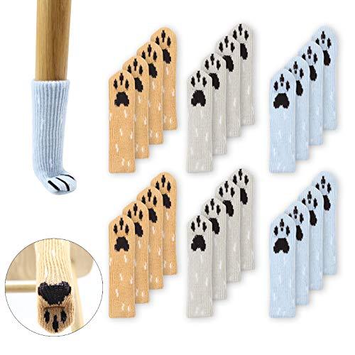 24 niedliche Stuhl-/Tischbeinsocken mit Hundepfoten-Design, gestrickte Möbelfüße, Socken, Stuhlbeine, Bodenschoner, Browm, Blau und Grau