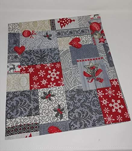 Camino de mesa Jürgen con lazo, para Navidad, invierno, patchwork, varios tamaños, 40 x 40-60 x 60 cm, fabricado en Alemania, 75% algodón, 25% PES (camino de mesa de 40 x 100 cm)