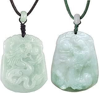 Dragon/Phoenix Jade Pendant Necklace Genuine Certified Grade A Jadeite, 12