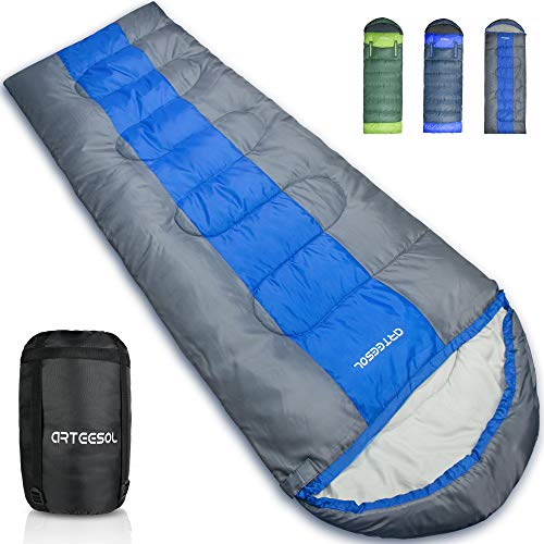 arteesol Schlafsack - 216 * 73cm Mumienschlafsack leicht Schlafsack für Outdoor Camping im Sommer Winter (Blue, -5℃~30℃)