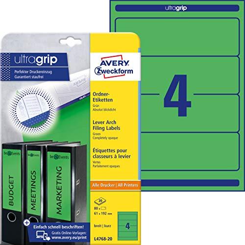AVERY Zweckform L4768-20 Ordnerrücken Etiketten (mit ultragrip, 61 x 192 mm auf DIN A4, breit/kurz, selbstklebend, blickdicht, bedruckbare Ordneretiketten, 80 Rückenschilder auf 20 Blatt) grün