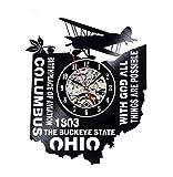 Orologio Da Parete In Stile Art Ohio, Orologio Da Parete In Vinile, Orologio Da Parete Da Salotto In Stile Personalità, Stile Anni '70, Senza Luce A 12 Pollici