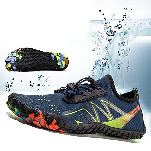 Zapatos de Agua Hombres Mujeres Deportes Descalzos, Zapatos de Deportes acuáticos, Zapatos de Agua, Zapatos de baño de Playa, Secado rápido, Yoga, Correr, Surf, Zapatos para navegar,Azul,36