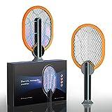 Matamoscas Eléctrico, 2-en-1 Raqueta Eléctrica Mata Insectos para dormitorio Guarderia Interior Exterior, Carga USB (Naranja)