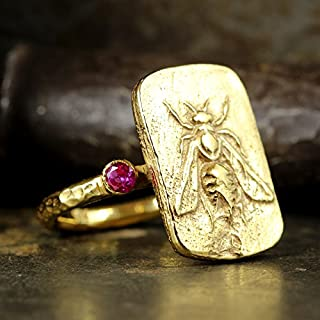 Ancient Roman Art Signet Honey Bee Greek Coin Ring 925 Sterling Silver 24K Yellow Gold Vermeil Handcrafted Artisan Jewelry