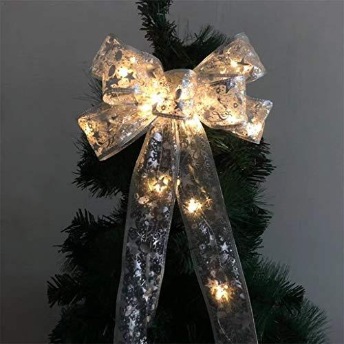 【US STOCK】Led Ribbon Lighting,Snowflake Wired Sheer Glitter Ribbon,Light LED Christmas Tree Ornaments Ribbon Bows for Home Christmas Tree Wreaths Decor (White )