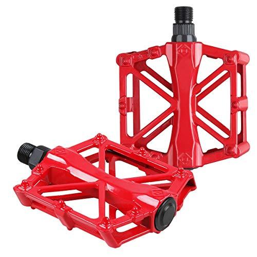 JIAYEE Pedales Bicicleta,Pedales MTB,Pedals Impermeable 9/16 Pulgadas con Sellado Antideslizante Durable,para Bicicleta de Montaña BMX Universal Bike (Rojo)