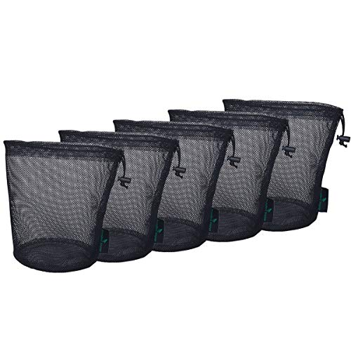 iBasingo Black Mesh Bag Nylon Sack Durable Drawstring Net Bag Small Travel Stuff Sack Mesh Storage Ditty Bag for Cosmetics Shower Gels Bottle Pot Tennis Golf Ball Outdoor Tools 5 pieces/lot BVP01-L