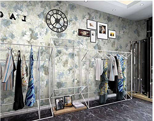 Papel de Pared 3D Flores de pintura al óleo vintage Azul vintage Papel Pintado No Tejido mural para Sala de Estar Habitación Cocina Comedor Fondo de TV 9.8 m x 0,53 m