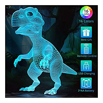 Dinosaur Toys Night Light for Kids, 3D Illusion...