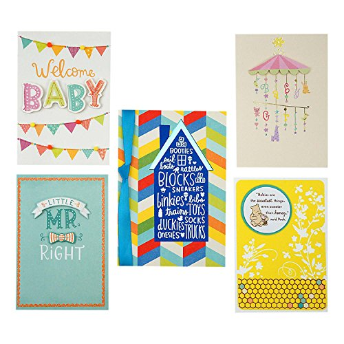 Hallmark Baby Shower Card Assortment (5 Congratulations Cards with Envelopes)