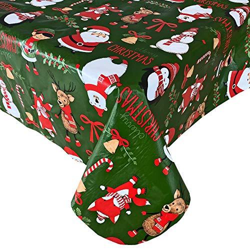 "Newbridge Holiday Critters Fun Whimsical Flannel Back Vinyl Christmas Tablecloth - Cute Santa, Snowman, Penguin, Elves, Reindeer Print Xmas Wipe Clean Easy Care Tablecloth, 60"" x 84"" Oval"