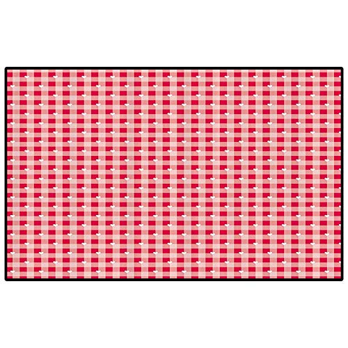 Abstract Patio Rugs Kitchen Rugs Non Skid Cute Heart Forms Over Striped Backdrop Girls Kids Love Valentines Image Indoor-Outdoor Carpet Dark Coral Light Pink