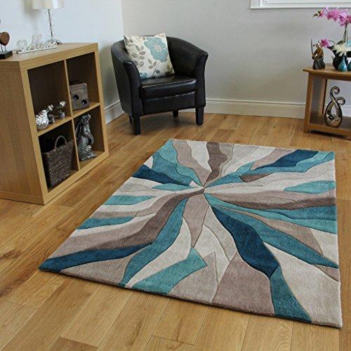The Rug House Tapis Contemporain Bleu Turquoise et Taupe Motif Vagues - 3 Tailles