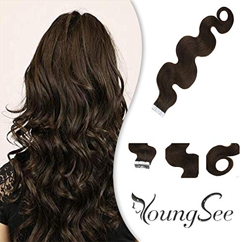 YoungSee 16inch Curly Tape in Hair Extensions Human Hair #4 Dark Brown Remy Hair Extensions Tape in Wavy Hair Extensions...