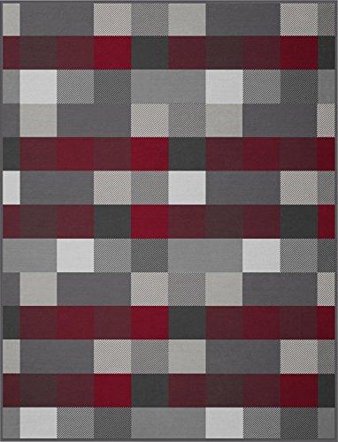 Erwin Müller Wohndecke Baumwollmischung rot-grau Größe 150x200 cm