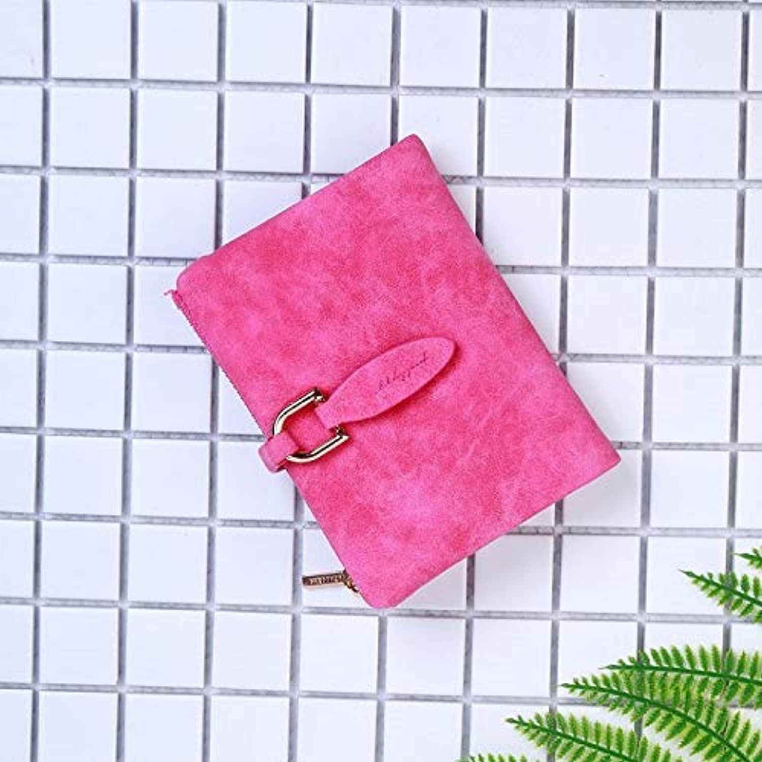 Bag Women's Wallet Short Korean Knitting PU Folding TriFold Leaf Women's Coin Purse (color   Red) Ladies Purses (color   Red)