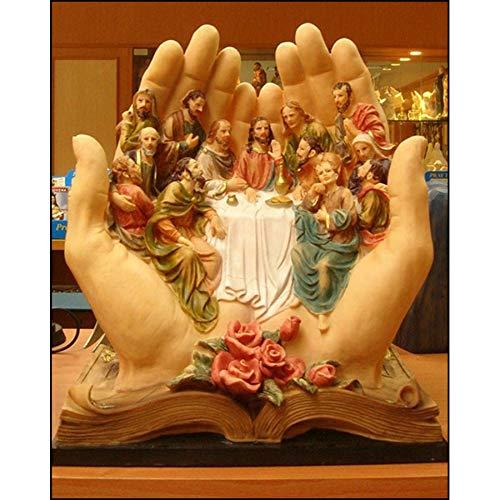 Frameloze olieverf Ng Heilig Boek Hand Houd Het Laatste Avondmaal Kristal Volledig Vierkant