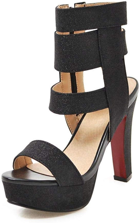 Europa und Amerika Damen Flash Stoff 12Cm Wild Fashion Side Zip Open Toe dicke High Heel Sandalen Schwarz   48 EU