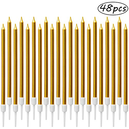 LUTER Metallic Birthday Candles in Holders Tall Birthday Cake Candles Long Thin Cupcake Candles for Birthday Wedding Party Decoration(24 Pieces) (Gold 48Pcs)