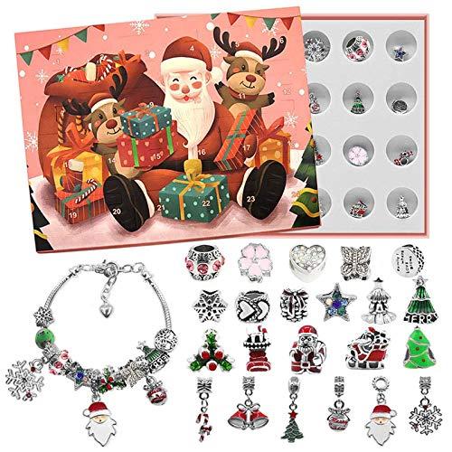 Calendario de Adviento 2020, juguete de cuenta regresiva, colgante de Navidad, 24 días, pulsera de Papá Noel, árbol, copo de nieve, Jingle Bell Star regalo para niños, niñas y niños