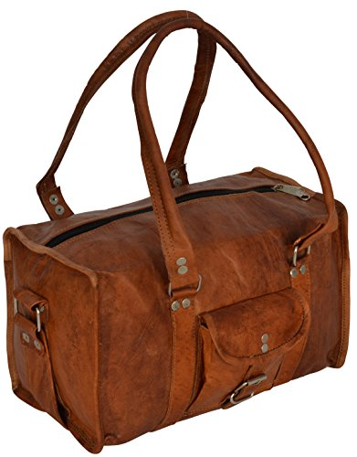 Gusti Leder nature 'Lucas' Genuine Leather Travel Camera Small Vintage Petite Holdall Shoulder Duffel Bag Unisex R5