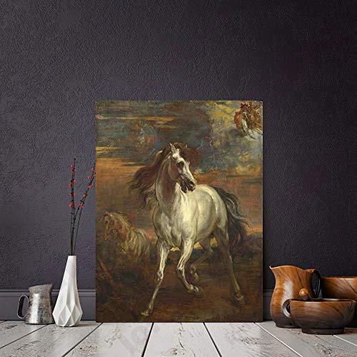 SADHAF Arte classica Cavallo Stampa animalier Tela Pittura Per la decorazione domestica Parete Scala Soggiorno Decorativo Murale A5 60x90cm