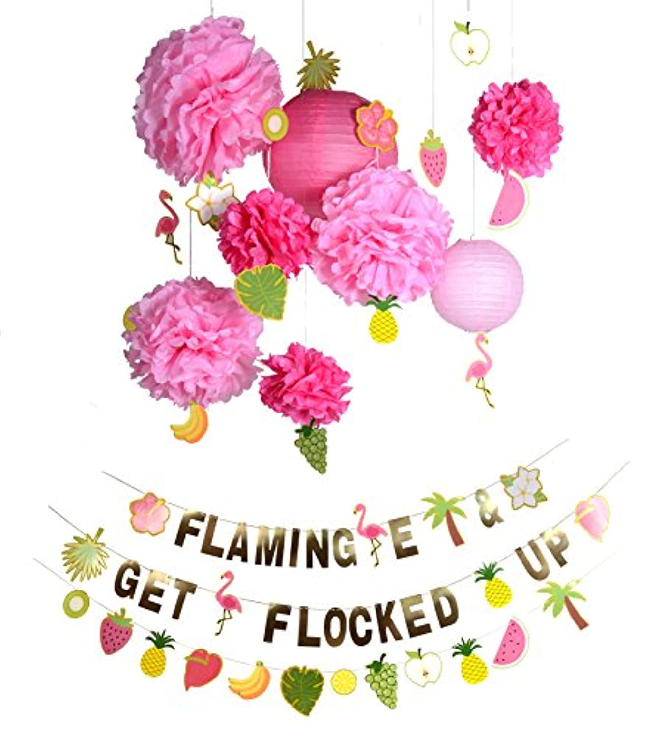 Paper Jazz DIY banner paper pom pom flower lantern for summer party flamingo flamingle party beach party event decoration
