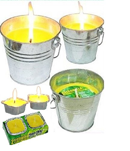 joka international GmbH Citronella 7-delige set, bestaande uit emmer 3 stuks + aluminium schaal 2x2er set kaars terras