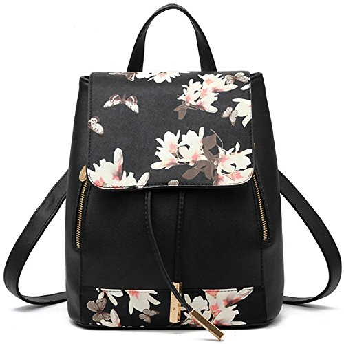 FiveloveTwo Mujer Niña Clásico Cordón Bolsos Mochila Cuero de PU Bolso de hombro de la Escuela Viaje Ocio Backpack Rucksack Flor negra