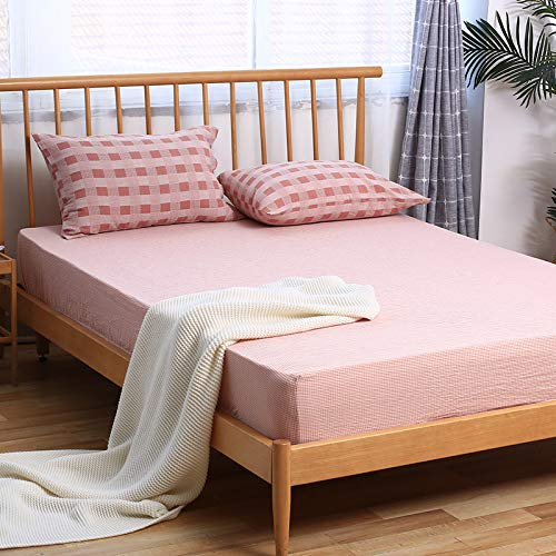 haiba Sábana bajera ajustable doble extra profundo de polialgodón protector de colchón, sábana doble, 180 x 200 + 25 cm